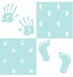 baby boy handprint footprint set vector image