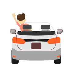 back view car with driver icon vector image vector image