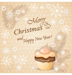 christmas card with cupcake vector image vector image