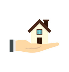 house in hand icon flat style vector image