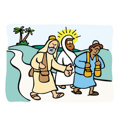 jesus on the road to emmaus vector image vector image