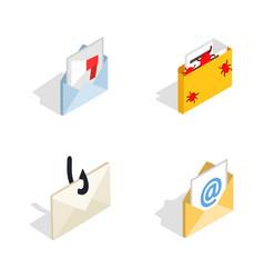 mail icon set isometric style vector image