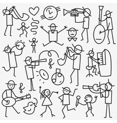 Musicians icons set vector image vector image