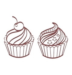 Set of sweet and tasty cakes Desserts can be used vector image