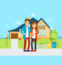 young people bought the new house flat vector image vector image