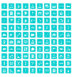 100 craft icons set grunge blue vector