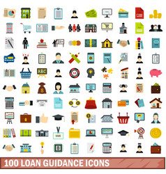 100 loan guidance icons set flat style vector