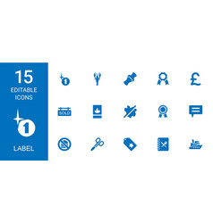 15 label icons vector image