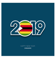 2019 zimbabwe typography happy new year background vector image