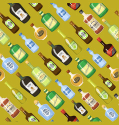 alcohol seamless background with wine and cocktail vector image