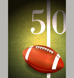 American football sitting on turf field vector