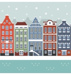 Amsterdam winter city scene vector
