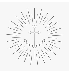 Anchor in shapes of heart round thin line frame vector