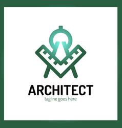 architect letter a logo - ruler vector image