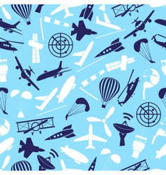 Aviation icons set blue seamless pattern eps10 vector