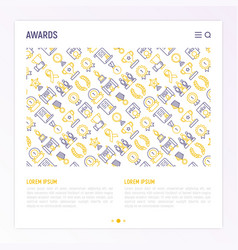awards concept with thin line icons vector image