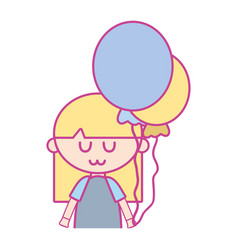 beauty girl with balloons and hairstyle design vector image
