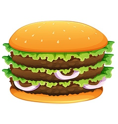 Big hamburger with sesame seeds vector