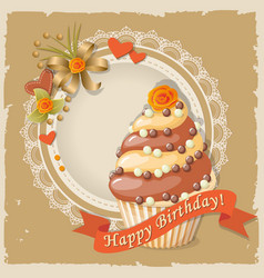 Birthday card with cake and ribbon vector