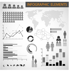 Black and white set of infographic elements vector