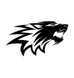black angry wolf sign vector image
