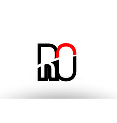 Black white alphabet letter ro r o logo icon vector