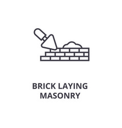 brick laying masonry line icon sign vector image