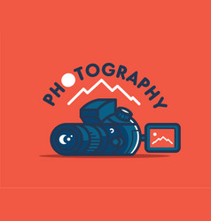 camera and landscape vector image