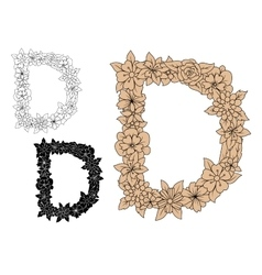 Capital letter D with floral elements vector image