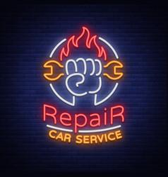 car service repair logo neon sign emblem vector image vector image