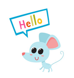 Cartoon blue funny mouse vector