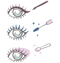 Cartoon eye makeup eyeliner mascara eye shadow vector