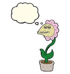 Cartoon monster flower with thought bubble vector