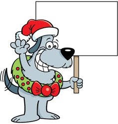 Cartoon of a dog wearing a Santa hat vector
