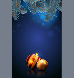 christmas golden balls on the blue background vector image