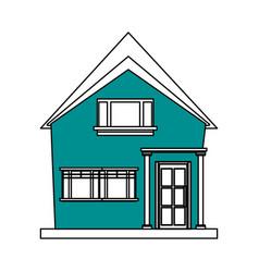 Color silhouette cartoon blue facade irregular vector