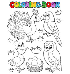 Coloring book bird image 4 vector