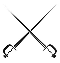 crossed sword icon simple style vector image