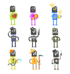 cute cartoon robots in various professions with vector image