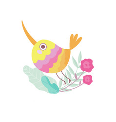 Cute colorful bird with long beak sitting on vector