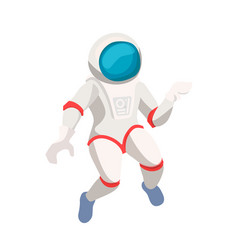 cute cosmonaut cartoon character isolated on white vector image