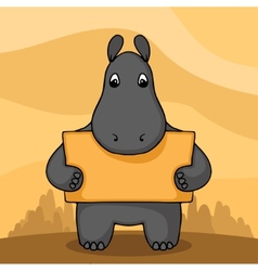 Cute hand drawn hippo with empty banner vector image