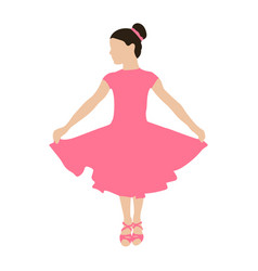 dancing girl in dress colored silhouette vector image