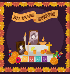 day dead altar family photo candles vector image