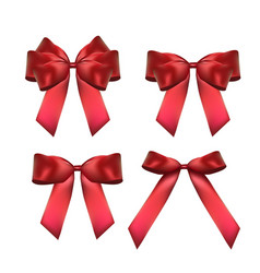 Decorative red bow collection set 3d realistic vector
