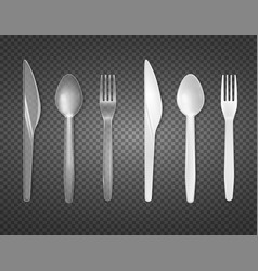 Disposable tableware transparent set vector