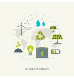 Ecologic renewable energy concept vector
