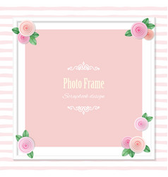 Elegant square photo frame decorated with roses vector