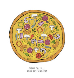 fast food pizza isolated on a white vector image
