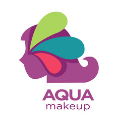 female profile aqua makeup isolated icon natural vector image